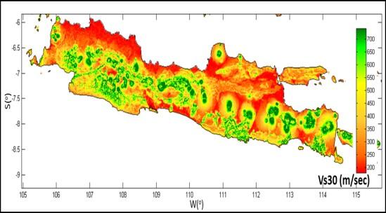 Peta klasifikasi site (jenis tanah) berdasarkan data kecepatan gelombang geser 30 detik (Custom Vs30 Mapping USGS, 2012).