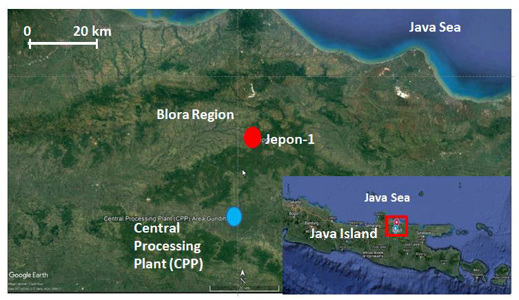 Figure 1. Location of Gundih CCS Pilot Project. Blue dot indicates the CPP (Central Processing Plant) location, and red dot is the CO2 injection well candidate. (taken from Asikin, 2018)