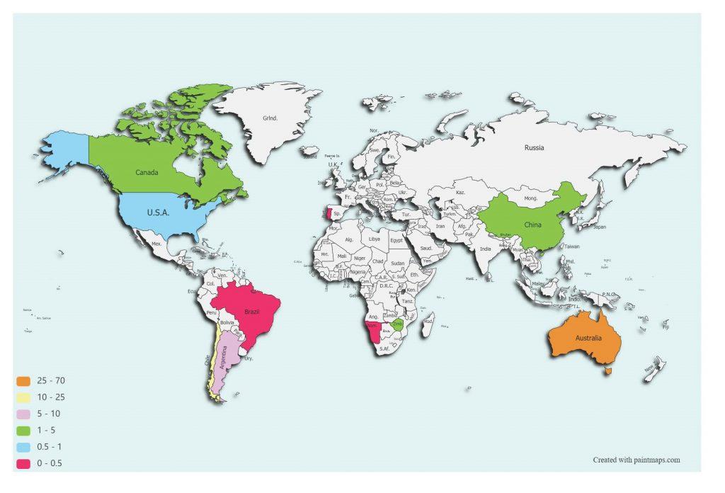 Gambar 3. Penghasil utama Li2O di dunia (World Mining Data, 2020). Data diolah oleh penulis.